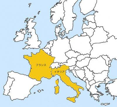 フランスとイタリアの地図