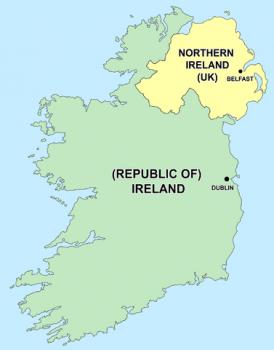アイルランドと北アイルランドのマップ