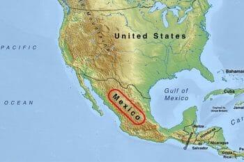 メキシコと周辺国の地図